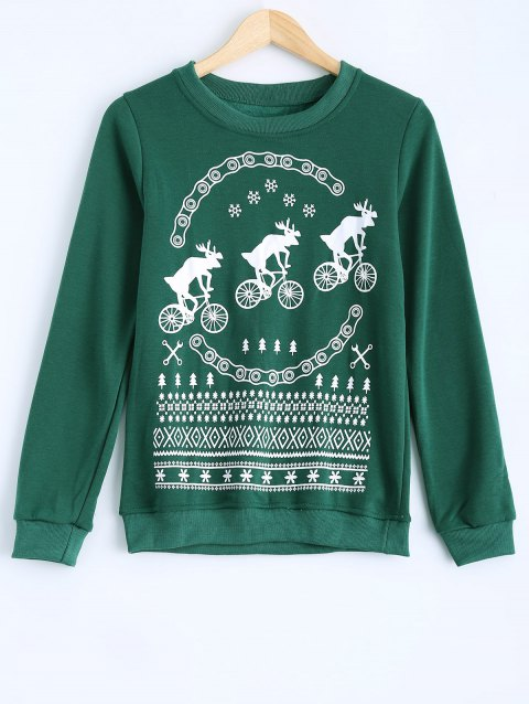 Milu Printed Round Collar Fleece Warm Sweatshirt - GREEN L