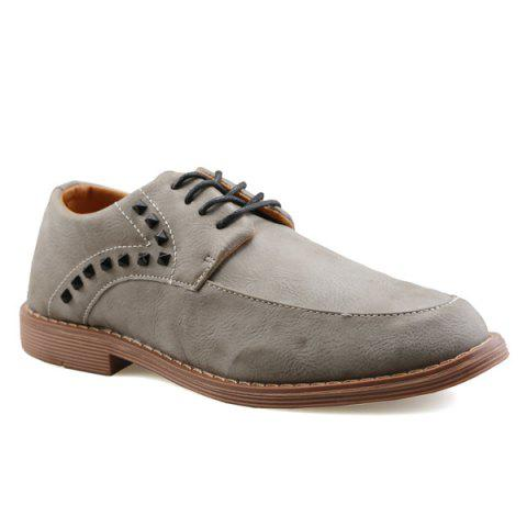 Tie Up Rivet Leather Casual Shoes - GRAY 44