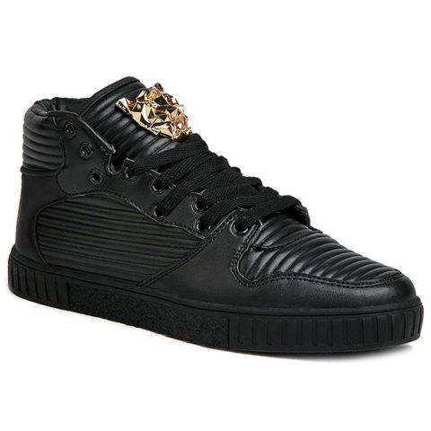 Tie Up Stitching Metal Casual Shoes - BLACK 42