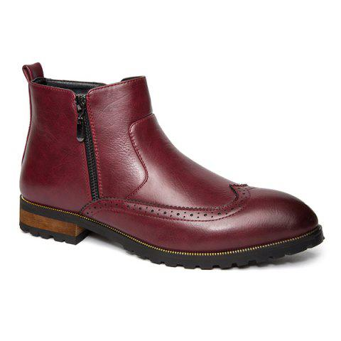 Point Toe Engraving Leather Boots - RED 43