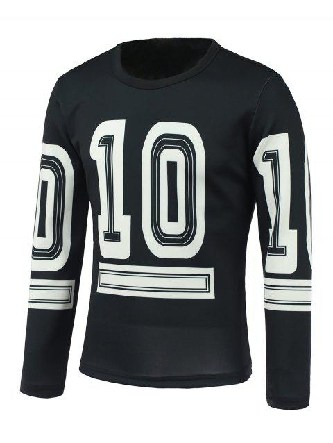 Round Neck Long Sleeve Number Ten Print Sweatshirt - BLACK L