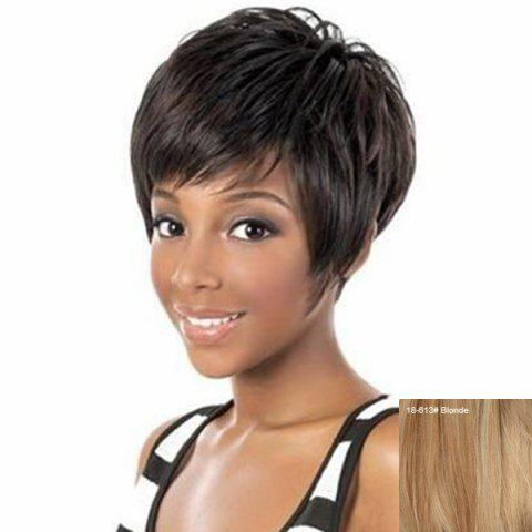 Fluffy Short Inclined Bang Straight Human Hair Wig - 18/613