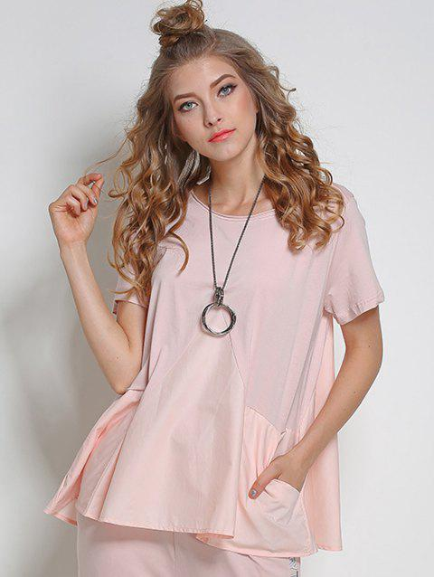 Short Sleeve Loose Tee - PINK ONE SIZE
