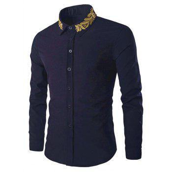 Shirt Collar Golden Leaves Embroidered Long Sleeves Shirt