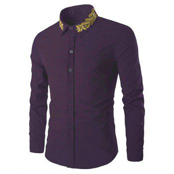 Shirt Collar Golden Leaves Embroidered Long Sleeves Shirt - PURPLE L