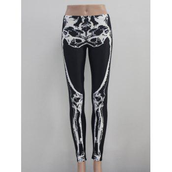 Skeleton Print Elastic Hallowmas Leggings