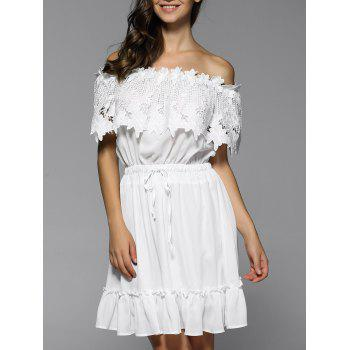 Off Shoulder Flounce Drawstring Lace Panel Dress