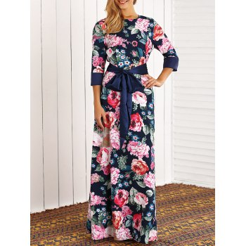 Retro 3/4 Sleeve Floral Printed Maxi Dress