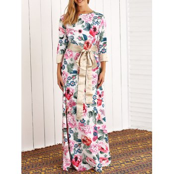 Retro 3/4 Sleeve Rose Floral Printed Maxi Dress