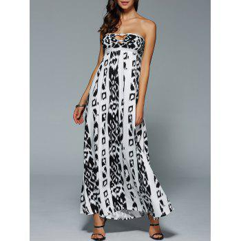 Bohemian Illusion Printed Cutout Bandeau Maxi Dress