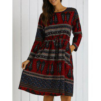 Long Sleeves Pocket Tribal Print A Line Dress