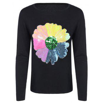 Colorful Flower Sequined T-Shirt