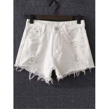 Stylish Women's Solid Color Ripped Shorts