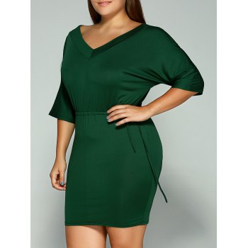Plus Size Dolman Sleeve Drawstring Waist Mini Dress