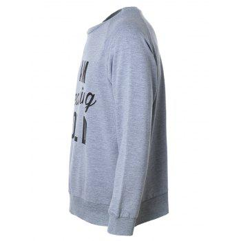 Crew Neck Raglan Sleeves Letter Printed Graphic Sweatshirts - GRAY 2XL