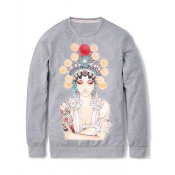 Long Sleeve Peking Opera Figure Print Pullover Sweatshirt