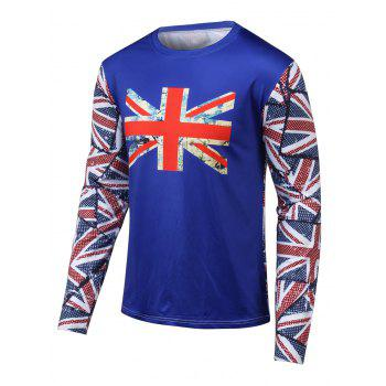 Long Sleeves Flag Printed Round Neck T-Shirt