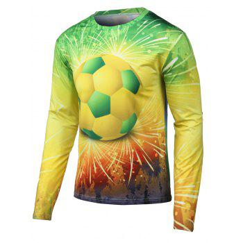 Long Sleeves 3D Football Print Round Neck T-Shirt