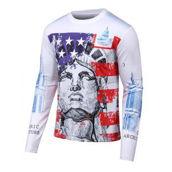 Long Sleeves 3D Building Print Round Neck T-Shirt
