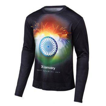Round Neck Fireworks Print Long Sleeves T-Shirt
