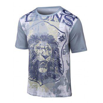 Round Neck Short Sleeve 3D Lion Print T-Shirt
