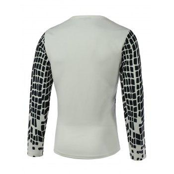 Round Neck Long Sleeve Print Men's T-Shirt - WHITE 3XL