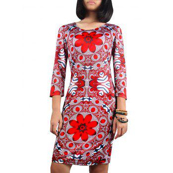 Scoop Neck Ornate Print Skinny Dress
