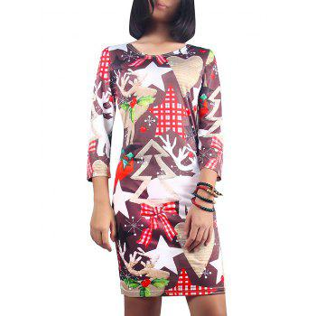 Scoop Neck Christmas Ornate Print Dress