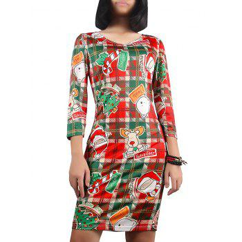 Christmas Cartoon Pattern Plaid Dress