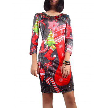 Christmas 3/4 Sleeve Scoop Neck Printed Dress