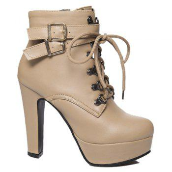 Fashion Tie Up and Double Buckle Design Women's Short Boots - APRICOT 39