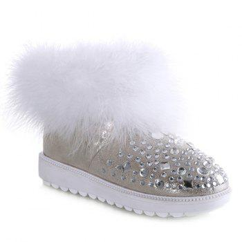 PU Leather Faux Fur Rhinestones Snow Boots