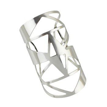 Geometric Hollow Out Cuff Bracelet - SILVER SILVER