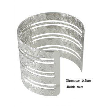 Punk Alloy Engraved Triangle Cuff Bracelet -  SILVER