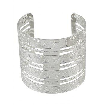 Punk Alloy Engraved Triangle Cuff Bracelet - SILVER SILVER