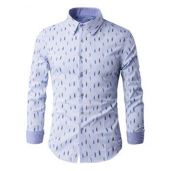 Anti-Wrinkle Design Printed Long Sleeve Shirt - LIGHT BLUE L