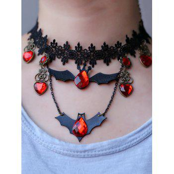 Faux Crystal Heart Bat Halloween Necklace - BLACK