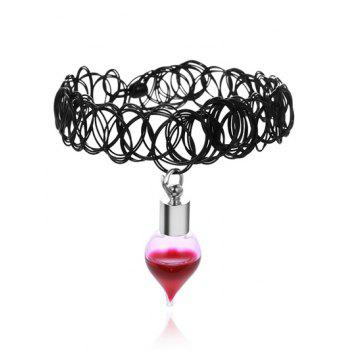 Alloy Blood Tattoo Halloween Choker Necklace - BLACK BLACK