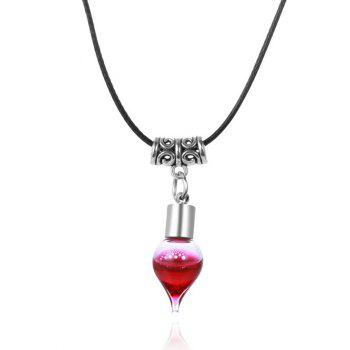 Faux Leather Rope Blood Halloween Necklace - BLACK BLACK