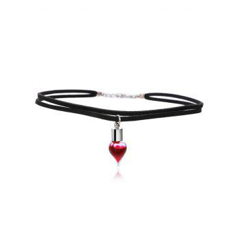 Layered Faux Leather Blood Halloween Necklace - BLACK BLACK