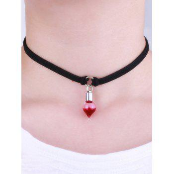Faux Leather Round Blood Halloween Choker - BLACK
