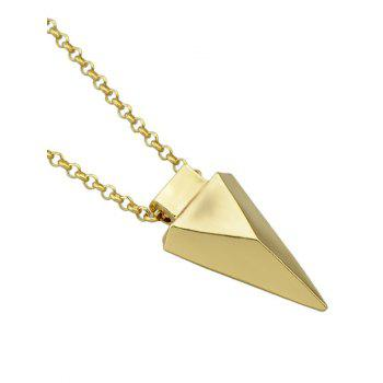 Layered Faux Gem Triangle Pendant Necklace - GOLDEN