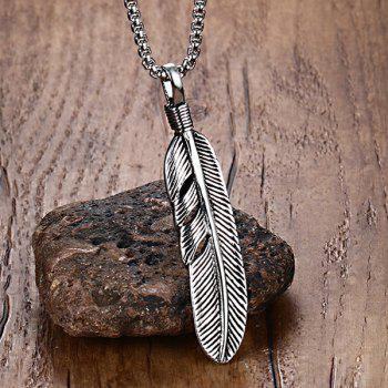 Alloy Leaf Feather Pendant Necklace - SILVER