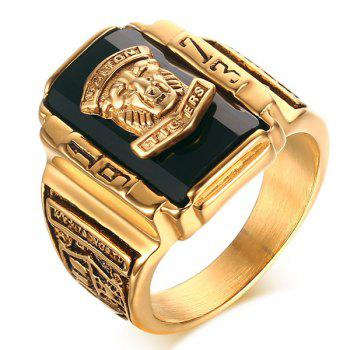Alloy Tiger Head Emboss Geometric Ring - BLACK 8