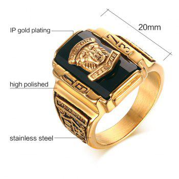 Alloy Tiger Head Emboss Geometric Ring - 9 9