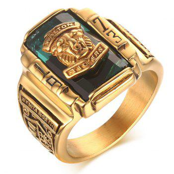 Faux Crystal Emboss Geometric Tiger Head Ring
