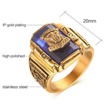 Faux Sapphire Emboss Geometric Tiger Head Ring - 9 9