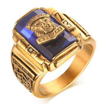 Faux Sapphire Emboss Geometric Tiger Head Ring - BLUE 9