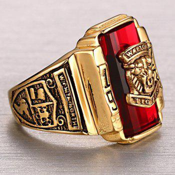 Faux Ruby Emboss Geometric Tiger Head Ring - 8 8