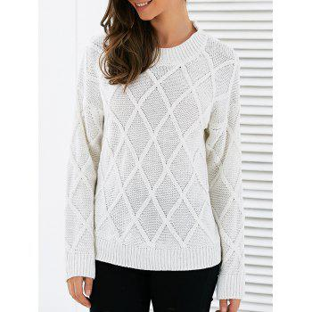 Long Sleeves Geometric Sweater - WHITE WHITE